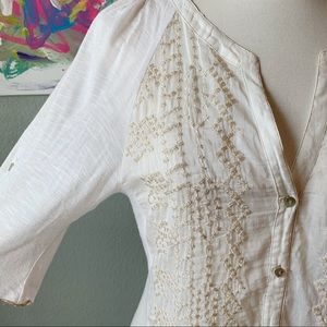 Anthropologie Tops - Anthropologie Tiny Gold Embroidered Henley